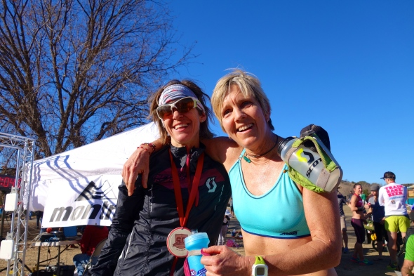 Luanne Park and I representing the geriatric crowd with a combined age of 105! Photo by Bryon Powell of Irunfar.com