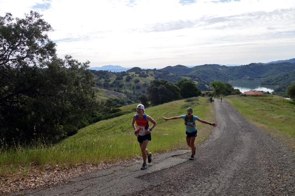 Lydia and I cresting at Madrone. Photo by Bryan Powell